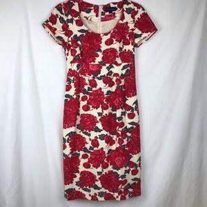 Boden | Floral Print Silk Linen Dress Cap Sleeves